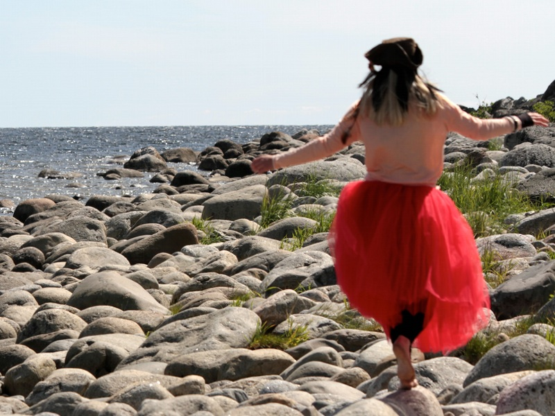 jumping on rocks
